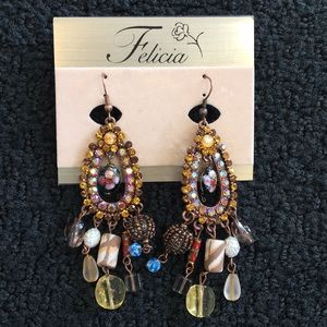 Jewelry - Vintage Multi Color Jeweled Beaded Earrings